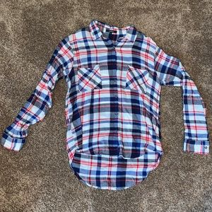Boutique Red/White/Blue Plaid Button Up